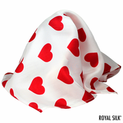 White Silk Hearts Pocket Square