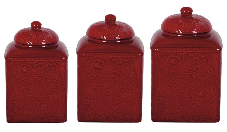 Hxdi4001cs01rd Savannah Tooled Red 3 Pc Canister Set