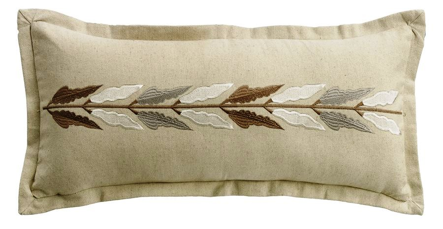 Hxfb p embroidered leaf linen pillow