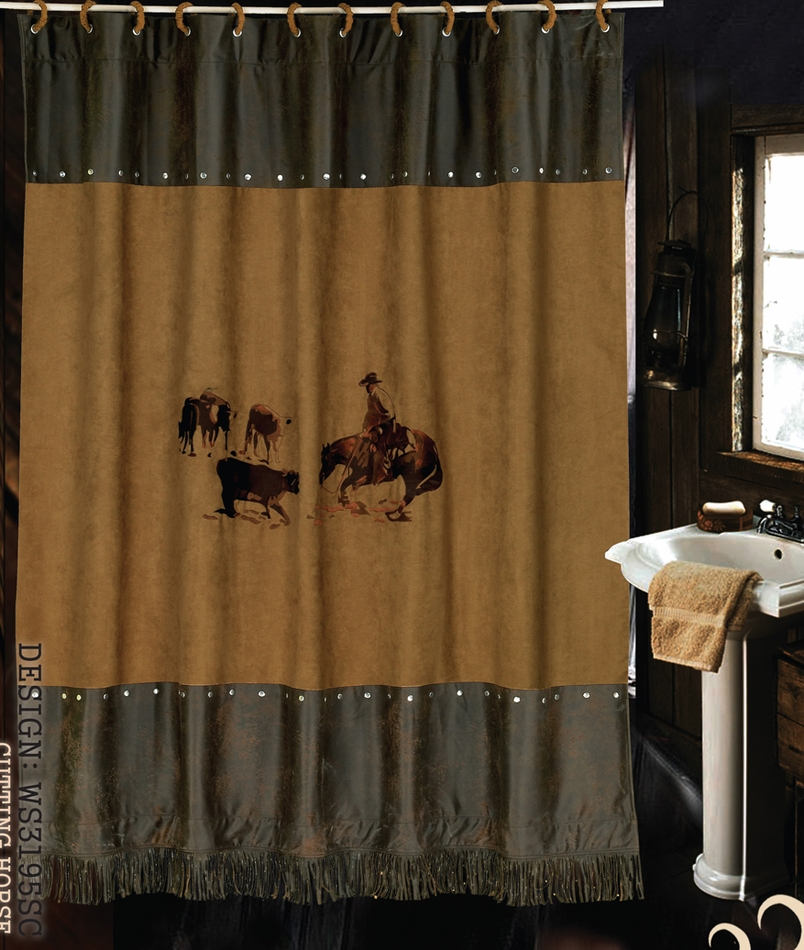Hxws3195sc 39 39 Cutting Horse 39 39 Western Embroidered Shower Curtain