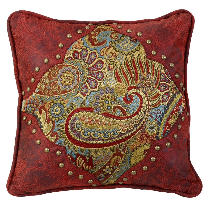 Decorative Western Throw Pillows : (HXWS4287P1) San Angelo Western Paisley & Faux Leather Decorative Pillow