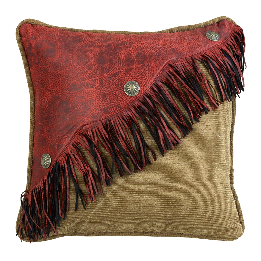 (HXWS4287P3) San Angelo Western Decorative Faux Leather & Fringe Pillow 18 x 18