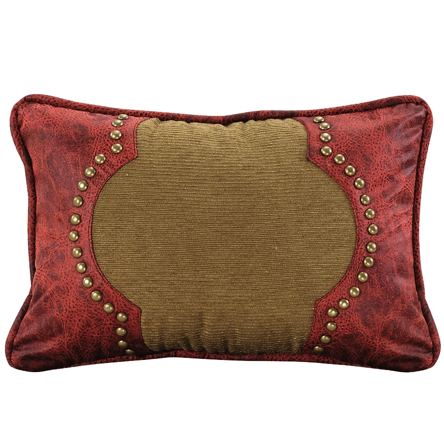 Red Leather Decorative Pillow : (HXWS4287P6) San Angelo Western Red & Tan Faux Leather Decorative Pillow 12 x 18