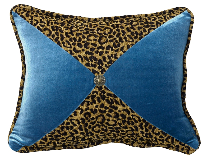 Decorative Western Throw Pillows : (HXWS4287P8) San Angelo Western Leopard & Teal Decorative Pillow 16 x 21
