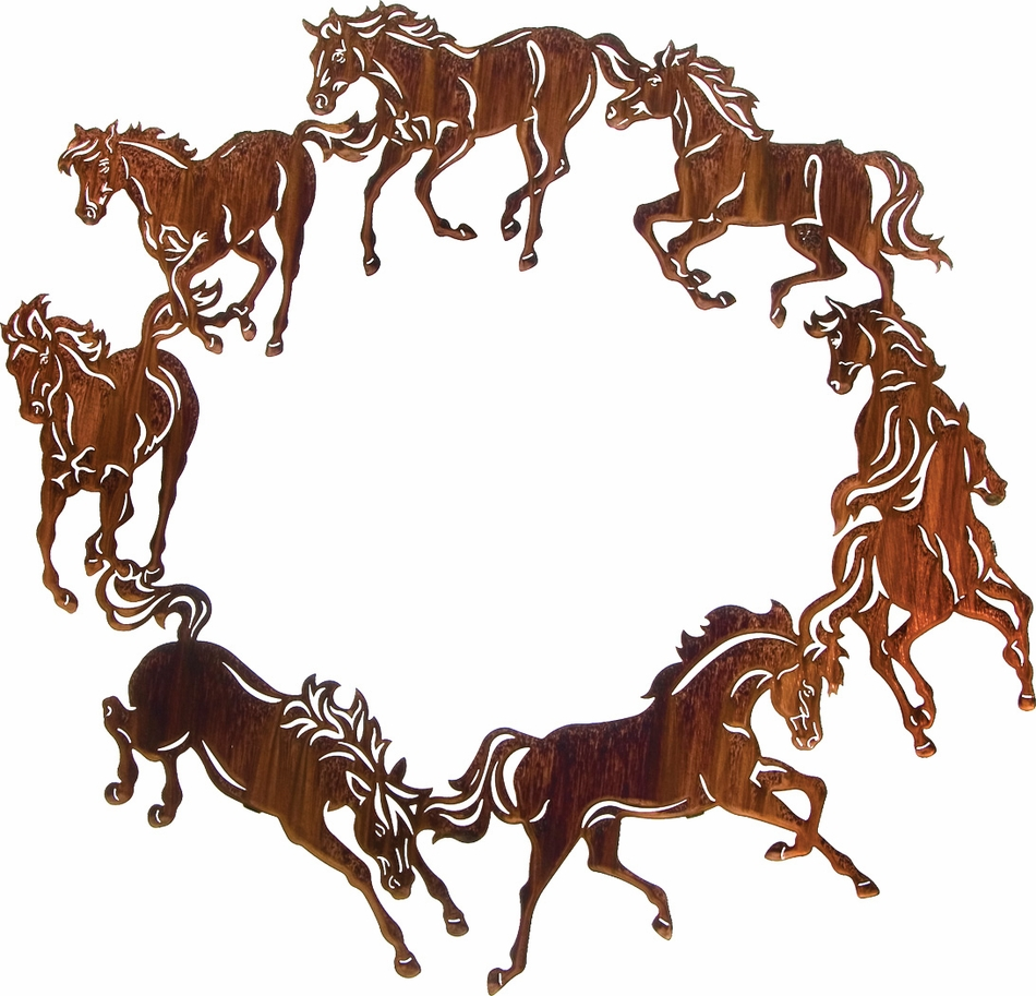 Western Wall Decor Metal : Lzch whp  circle of horses western metal art
