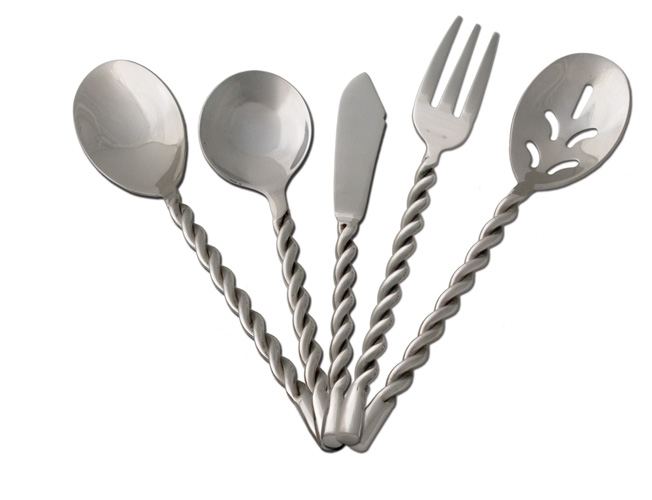 Mbhw9515 39 39 twisted rope 39 39 western 5 piece hostess set - Twisted silverware ...