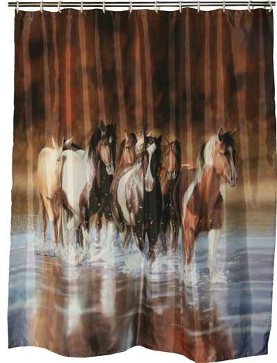 Re768 39 39 Rush Hour 39 39 Western Horse Shower Curtain