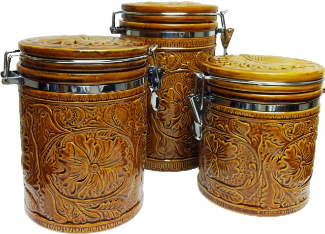 Western kitchen canister set ceramic tooled design 3 pc - Western canisters for kitchen ...