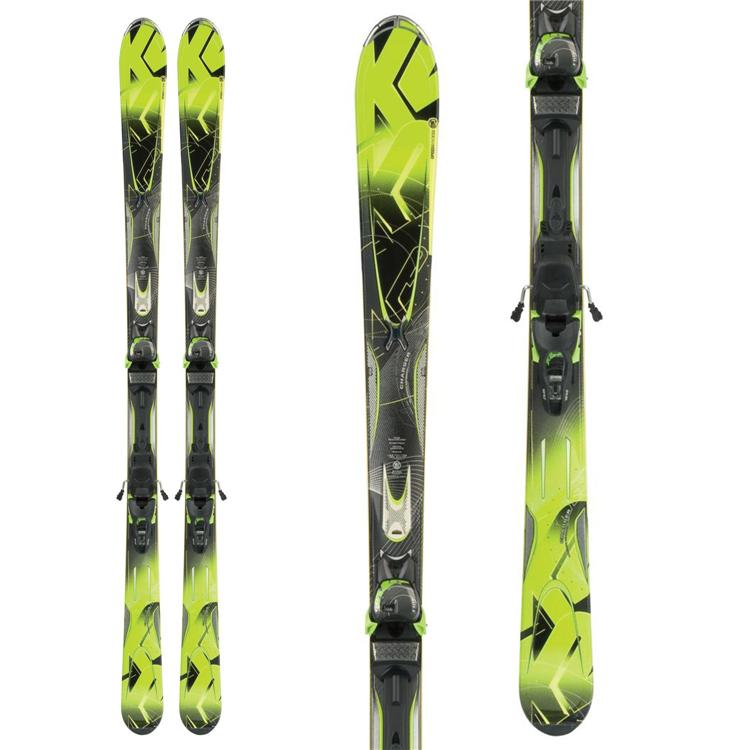 New 2012 K2 A.M.P. Charger Skis with Bindings Lime Green Black