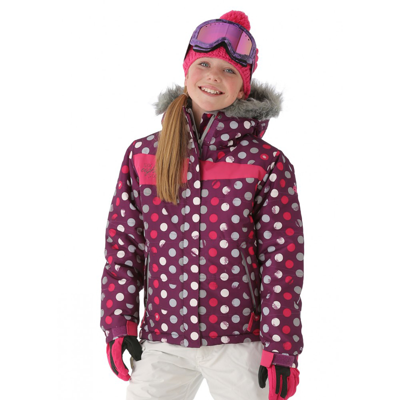 New 686 Girls Mannual Gidget Puffy Jacket Light Plum Dots