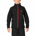 New Boys Spyder Mini Constant Full Zip Core Sweater Black Orange