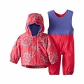 New Columbia Girls Fresh Pow Set Rose Dot Snow Jacket and Pants