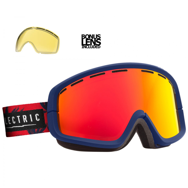 New Electric EGB2 Blue Fronds Bronze Red Chrome Goggles