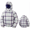 New Girls Columbia Pretty Peak Bomber White Plaid