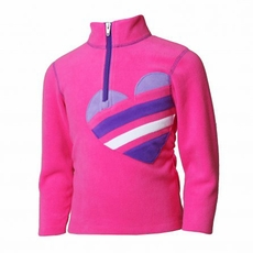 New Girls Obermeyer Hearts Fleece Top Hot Pink