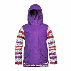 New Girls Roxy Rizzo Jacket Purple Flowers