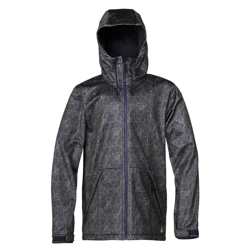 New Quiksilver Miagi Soft Shell Jacket Dark Blue Yellow