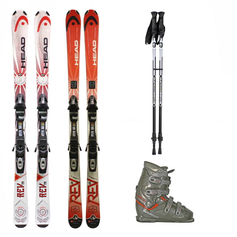 Used Head Rev 75 Skis with Bindings + Dalbello MX Super Ski Boots + adjustable poles Package Complete