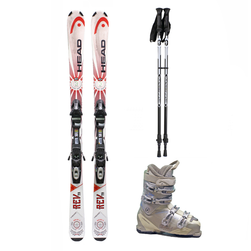 Used Head Rev 75 Skis with Bindings + Head Next Edge 80 Ski Boots + Adjustable Poles Package Complete Women's