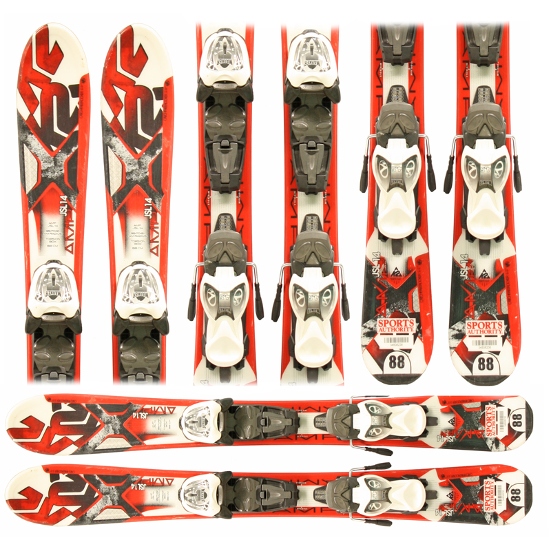 Used K2 AMP JSL 14  Junior Skis with Bindings