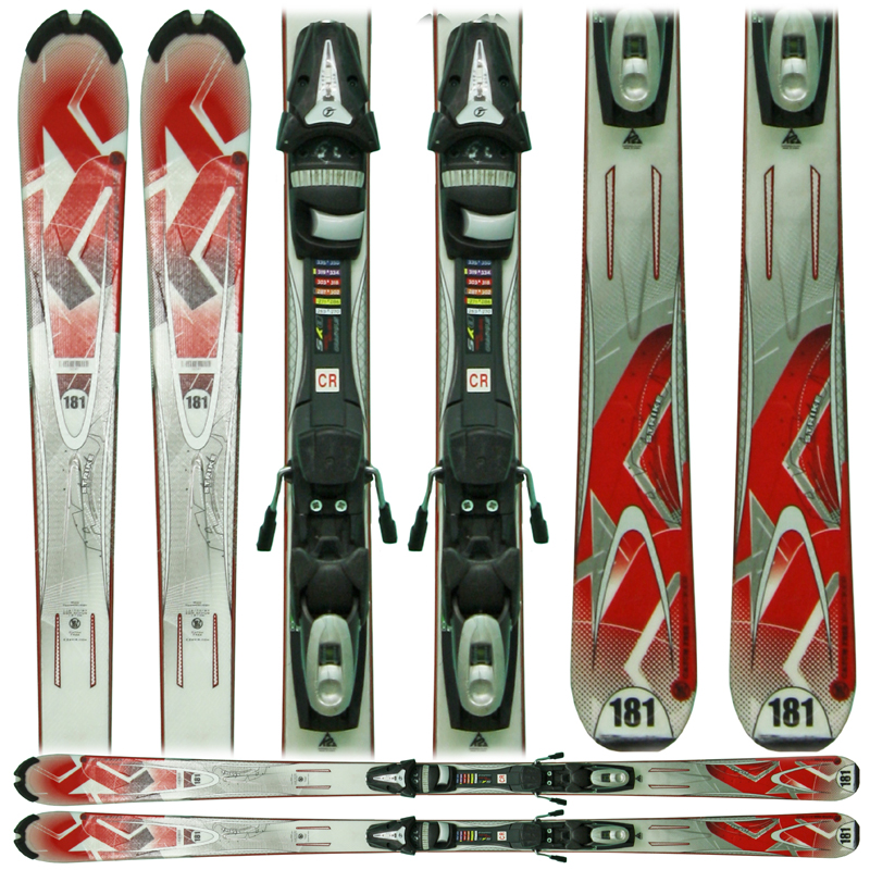Used K2 AMP Strike Skis with Bindings Red