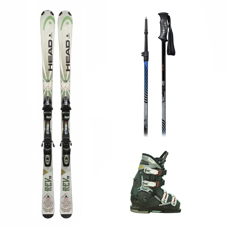 Used Head Rev 70 Skis with Bindings + Dalbello Vantage Sport Ski Boots + Adjustable Poles Package Complete Men's