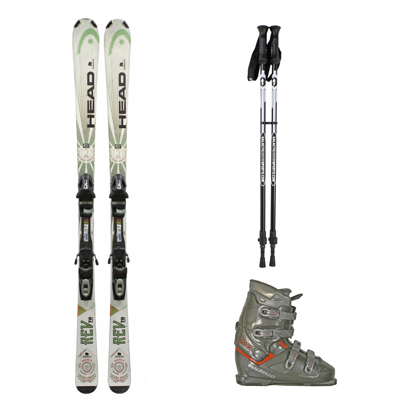 Used Head Rev 70 Skis with Bindings + Dalbello MX Super Ski Boots + Adjustable Poles Package Complete Men's