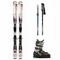 Used Salomon Enduro LX 750 Skis with Bindings + Head Next Edge 80 Ski Boots + Adjustable Poles Advanced Package Complete Men's