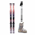 Used Salomon X-Wing Focus Skis with Bindings + Head Next Edge 80 Ski Boots + Adjustable Poles Package Complete Women's