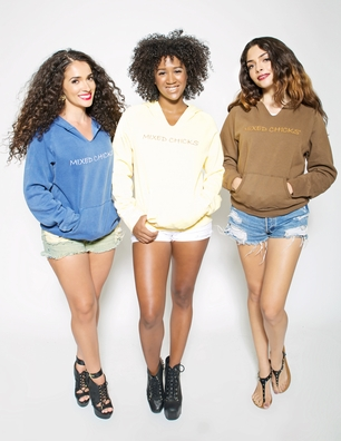 """womens embroidered hoodie - """"mixed chicks"""""""