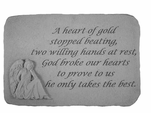 Angel Remembrance Stone - A Heart Of Gold