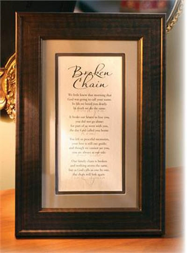 The Broken Chain Poem Memorial Frame