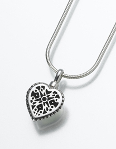 Filigree Cremation Heart Pendant