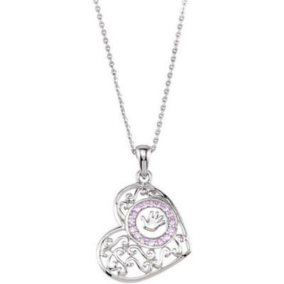 Handprint On My Heart Necklace w/poem - Daughter