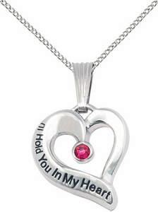 I'll Hold You In My Heart - Sterling With Birthstone