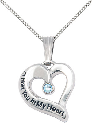 I'll Hold You In My Heart - Pewter With Birthstone
