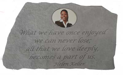 Memorial Photo Stone - Helen Keller Quote