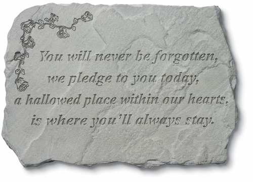 Sympathy Gift Stone  - You Will Never Be Forgotten