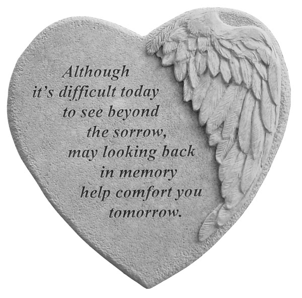 Memorial Tattoo Heart With Wings And Quote: Winged Heart Memorial Stone