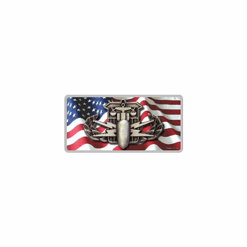 American Flag License Plate with HDT badge