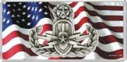 American Flag License Plate Master Badge