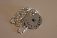 Hand Stamped Discs with Crystal