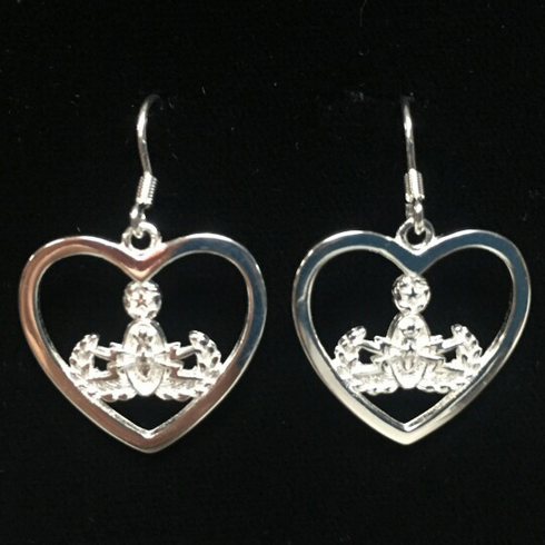 Heart with Master Badge Earrings