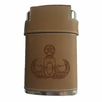 Leather Flask with Badge