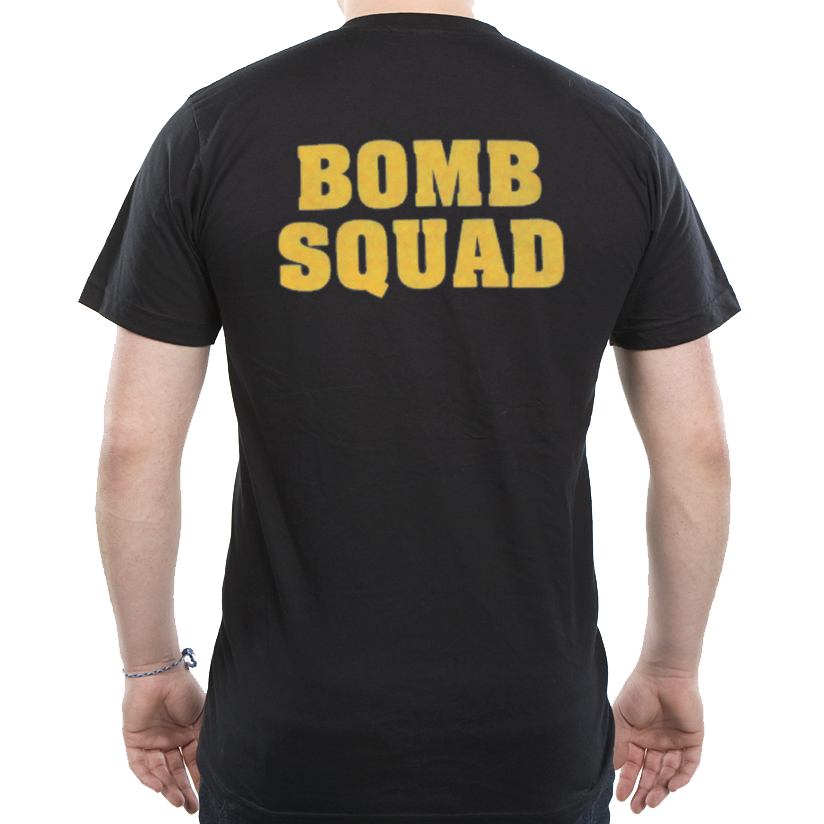 Bomb squad t shirt with gold back print only for Bucket squad gold shirt