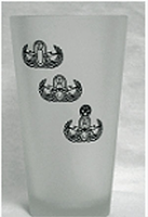Tall Glass-16 oz Frosted Glass with all Badges