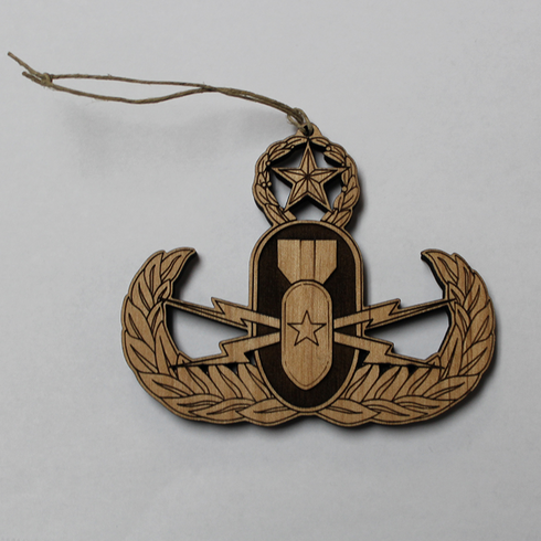 Wooden EOD Badge Ornament