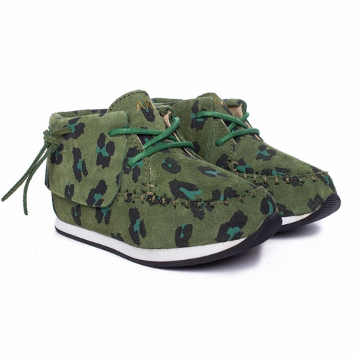 AKID Stone Green Leopard Moccasin Sneakers