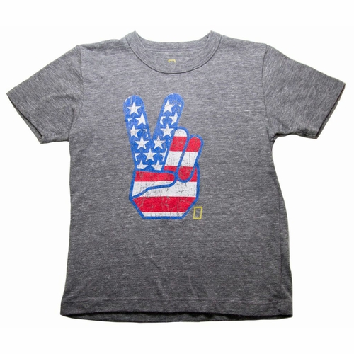 Chaser American Flag Peace Fingers Tee
