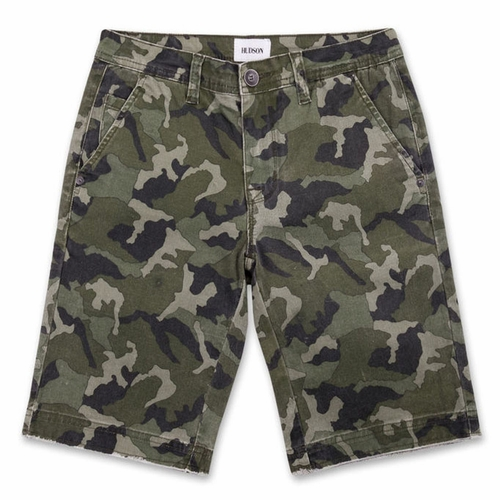 Hudson Green Camo Raw Edge Shorts